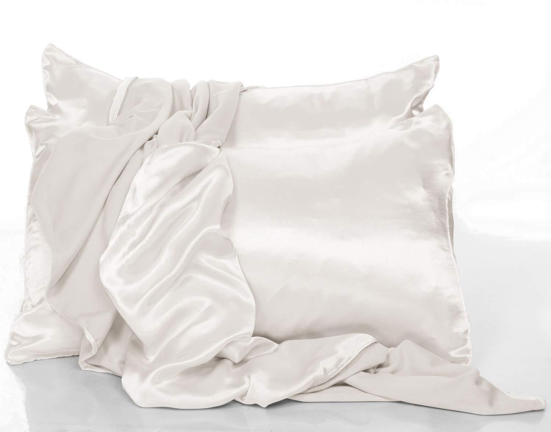PJ Harlow Pillow Case Set Of 2 Satin Pillow Cases Pearl