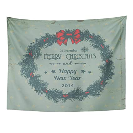 Christmas Wreath Drawing.Amazon Com Emvency Wall Tapestry Vintage Christmas Wreath