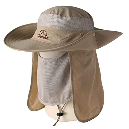 77df13d7d5d75 Amazon.com   BELIESAFE Wide Brim Fishing Sun Hat Summer Outdoor UV Sun  Protection Fishing Cap Neck Face Flap Hat for Man
