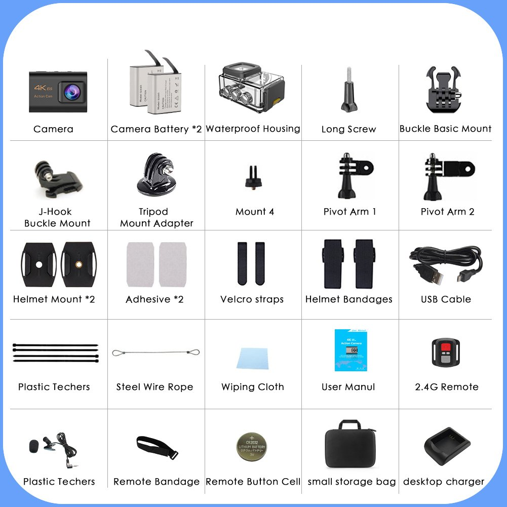 CrazyFire EIS Action Camera 4K 16.0MP HD Waterproof DV Camcorder-170 Degree Wide Angel Wifi and 2.4G Sport Camera with Dual Mic and Travel Bag Include Mounting Accessories Kit by CrazyFire (Image #6)