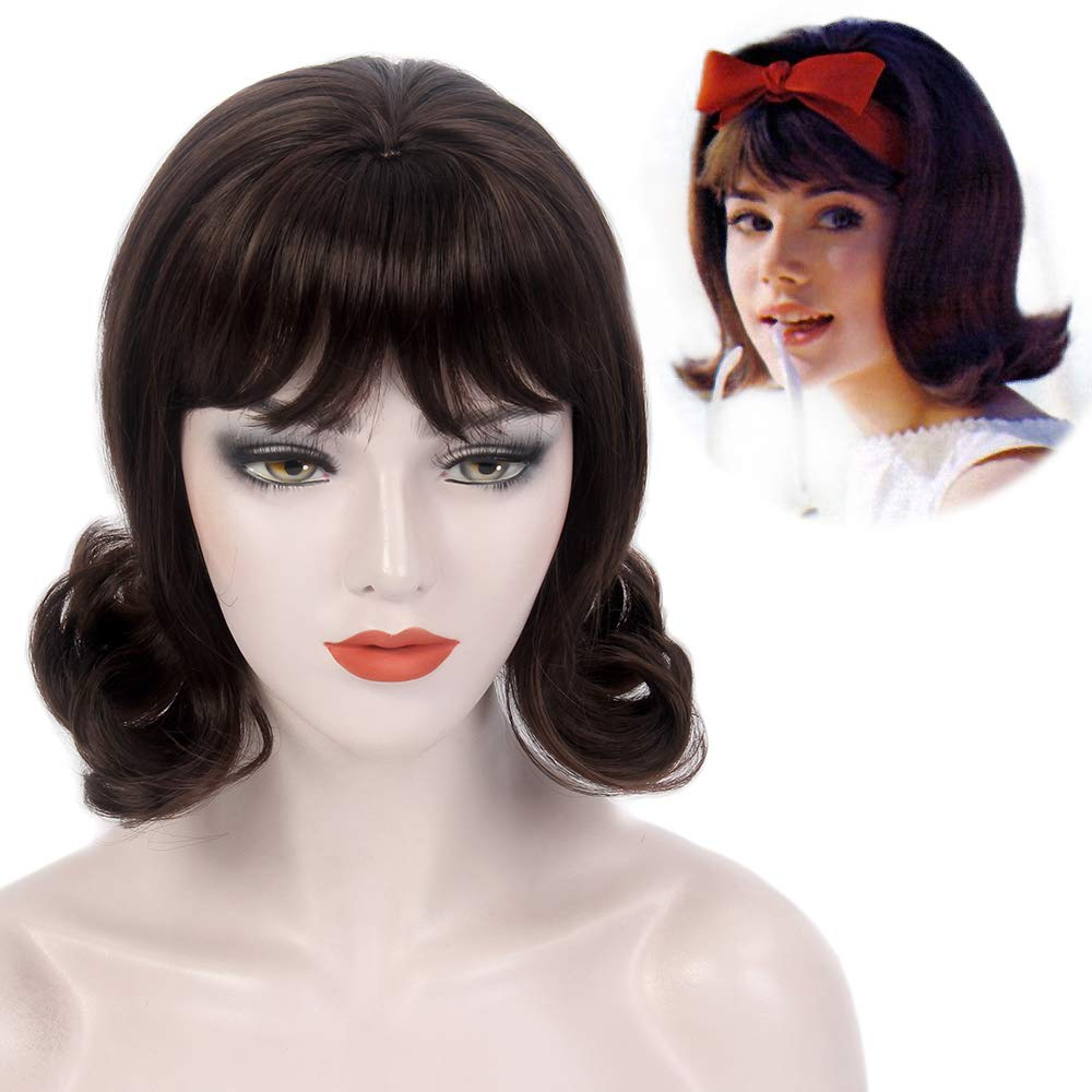 Amazon Com H Bwig Short Retro 60s Wigs For Women Brown Hair Wig Trendy Ideas For Hairstyle Female Costume Party Beauty