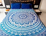 Difference Between California King and Queen Mandala Tapestry Bedding with Pillow Covers, Indian Bohemian Hippie Tapestry Wall Hanging, Hippy Blanket or Beach Throw, Ombre Mandala Bedspread for Bedroom, Queen Size Majestic Blue Boho Decor
