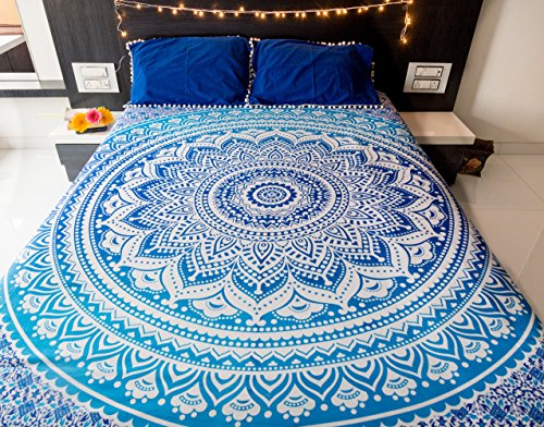 California King Poster Set Bed (Mandala Tapestry Bedding with Pillow Covers, Indian Bohemian Hippie Tapestry Wall Hanging, Hippy Blanket or Beach Throw, Ombre Mandala Bedspread for Bedroom, Queen Size Majestic Blue Boho Decor)