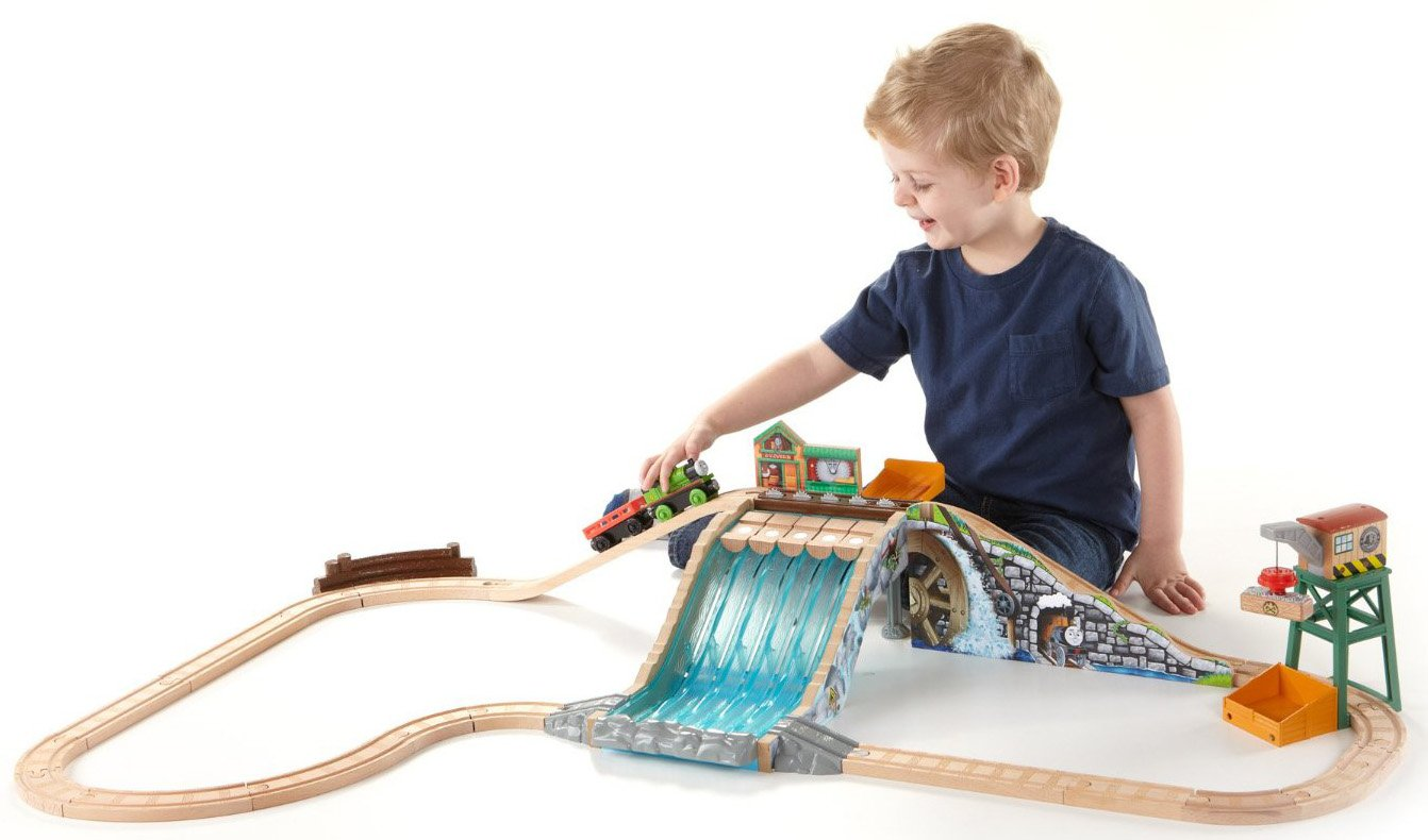 Fisher-Price Thomas Wooden Railway Lumber Yard Waterfall AdventureTrack Set