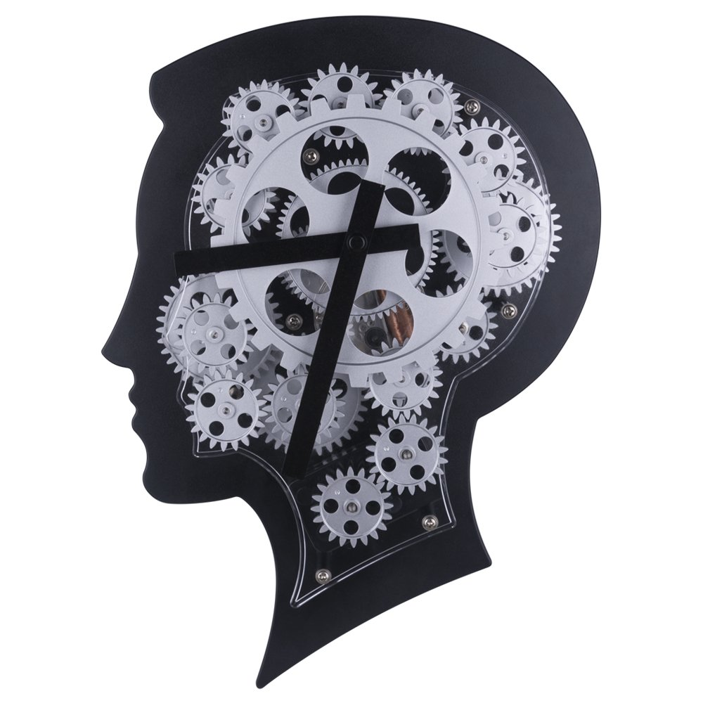 Wall Clock with Brain-Shape Design Advanced Technology Non-Ticking Gear Wall Clock for Creative Home Decoration