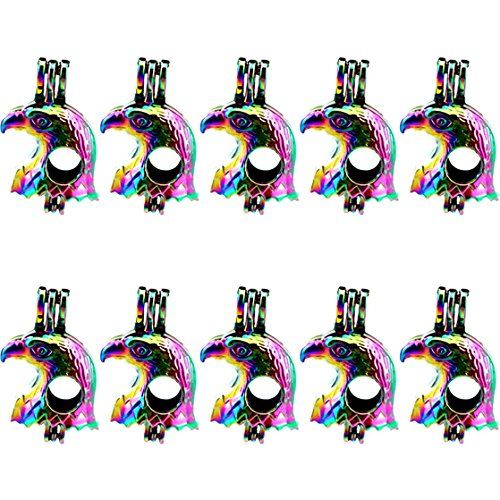 - (10 Pack) Rainbow Color 32mm Eagle Beads Cage Locket Pendant Charms