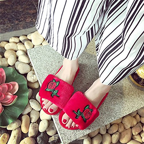 Classy Four Red Women's Rose Slippers Slippers Slide Bedroom Slipper Binglinghua Season Beautiful Spa House Comfort Open Indoor Toe Flower dUxqX6q7
