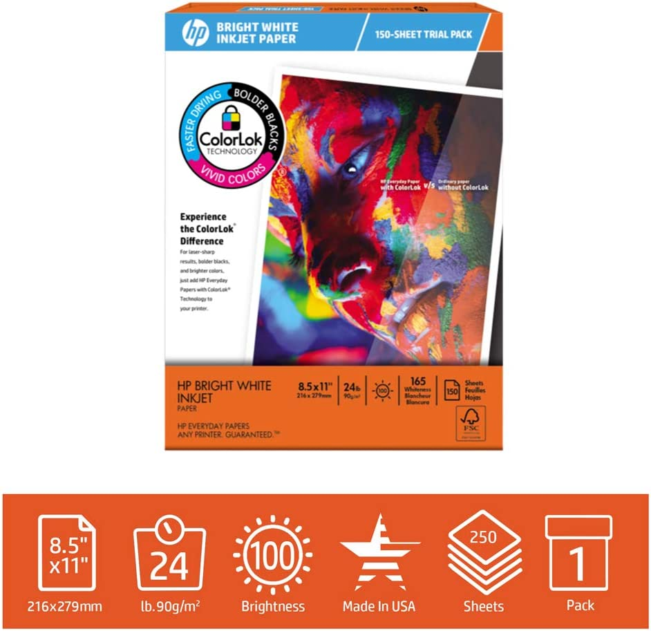 HP Printer Paper 8.5x11 BrightWhite 24 lb Trial Pack 150 Sheets 100 Bright Made in USA FSC Certified Copy Paper HP Compatible 203500R