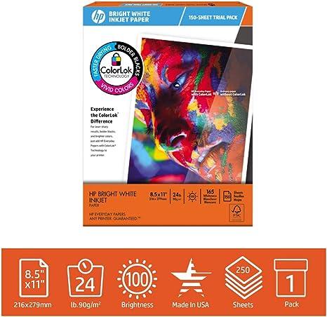 Amazon.com: HP Printer Paper, BrightWhite24 papel para ...