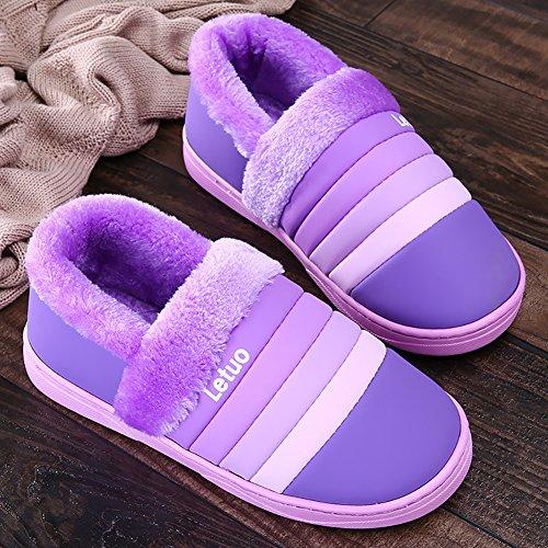Chaussures Intérieur Pourpre Hiver Unisexe Antidérapants Slippers Maison Pantoufles Chaud Chaussons Icegrey yc04W6xnc