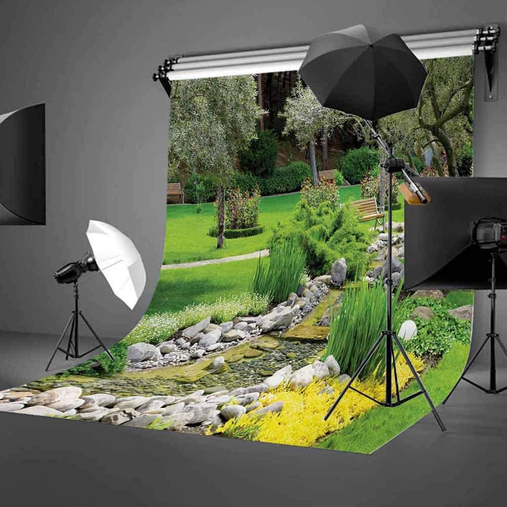 Garden 10x15 FT Photo Backdrops,Japanese Park Style Recreational View with Pond Grass Stones and Trees Landscape Print Background for Photography Kids Adult Photo Booth Video Shoot Vinyl Studio Props