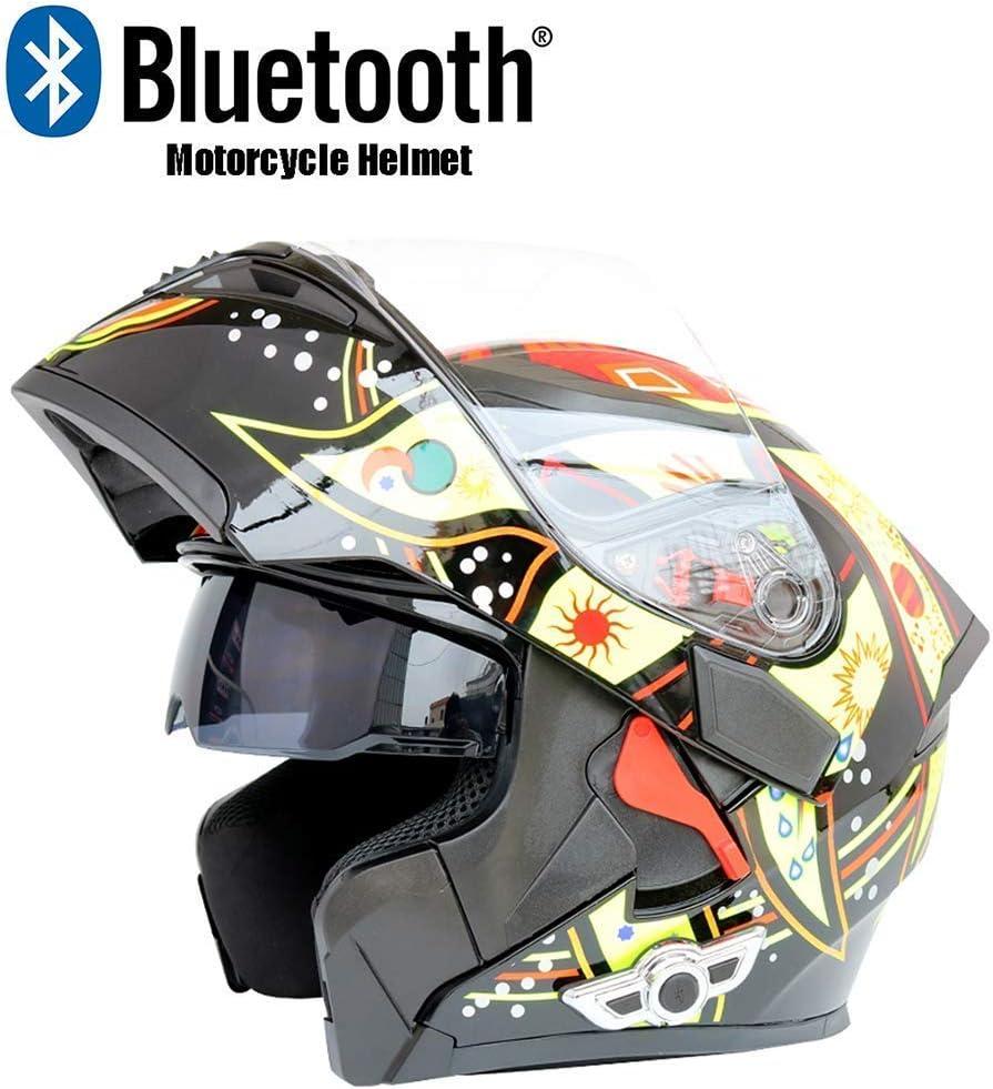 GWM 青toothヘルメットアンチコリジョンモジュラーヘルメットアンチフォグダブルレンズオープンフェイスヘルメット、フォーシーズンヘルメットフルカバー冬の人格クールフルフェイスヘルメット、フルフェイスレース防風スポーツ機器 (サイズ さいず : XXL)  XX-Large