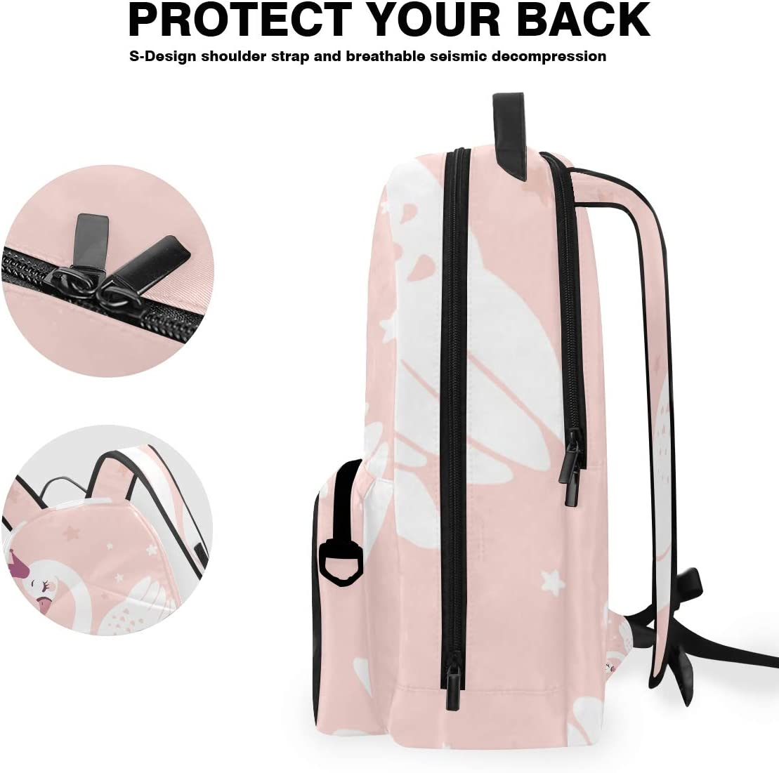 ALLMILL Cute Princess Swan On Pink Background Backpack