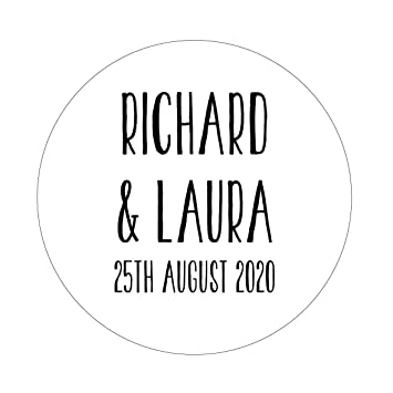 50 x 4cm personalised wedding stickers favours save the date invites names date