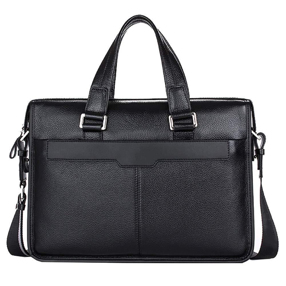 ブリーフケースPU大容量ポータブルビジネス旅行ラップトップバッグ(黒) B07LDCGF3J
