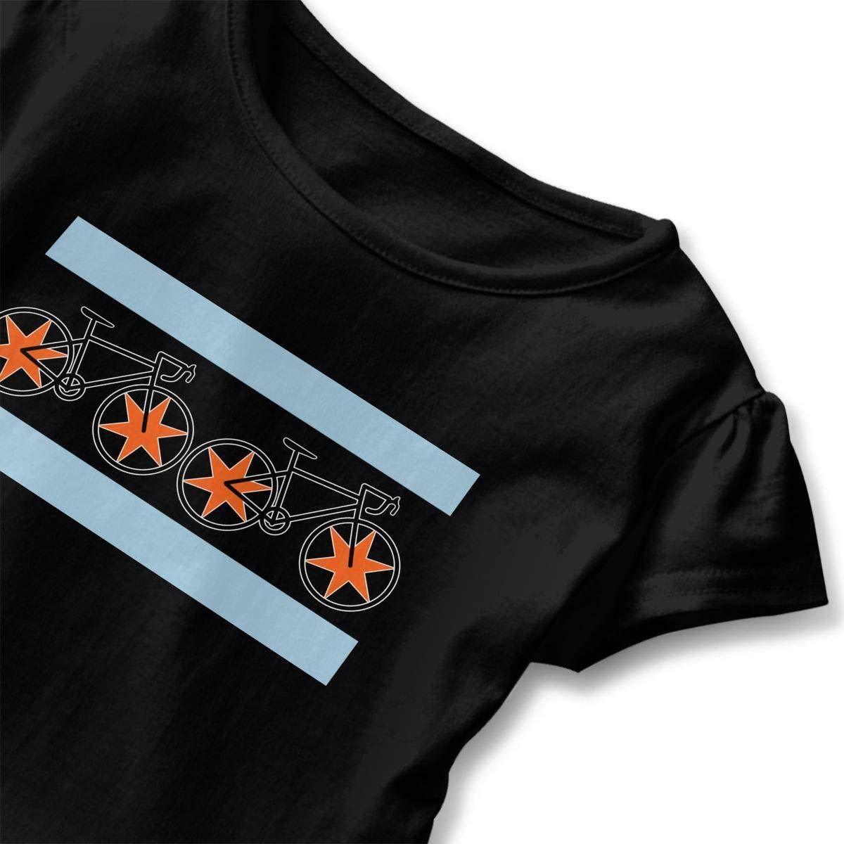 SHIRT1-KIDS Chicago Flag Bikes Toddler//Infant Girls Short Sleeve Ruffles Shirt T-Shirt for 2-6T