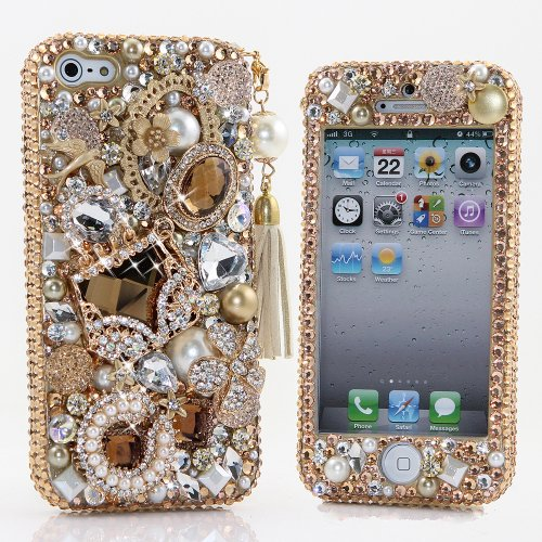 Crystal Faceplates (BlingAngels® 3D Luxury Bling iphone 5 5s Case Cover Faceplate Swarovski Crystals Diamond Sparkle bedazzled jeweled Design Front & Back Snap-on Hard Case (100% Handcrafted by BlingAngels) (Luxury Golden Purse with Phone Charm))