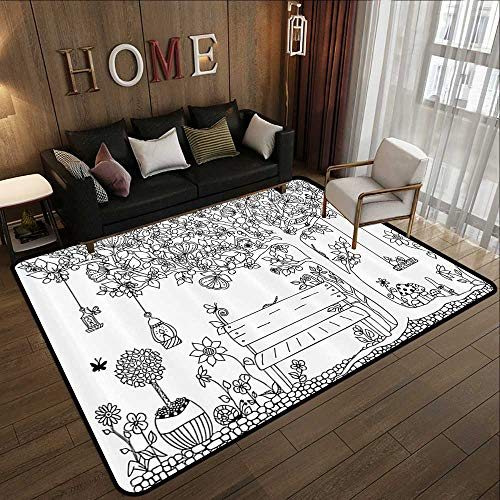 Bath Rugs for Bathroom,Farm House Decor Collection,Floral Tree with Lanterns Butterflies and Swing in Garden Dream Space Illustration,Black WHI 71