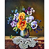 Diamond Painting kits,5D DIY Paintings Rhinestone Pasted Cross Stitch-Decorating Cabinet Table Stickers Crystal Embroidery Paintings Pictures For Study Room,Flower Painting