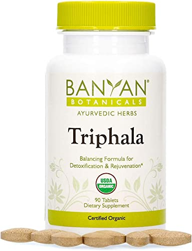 Banyan Botanicals Triphala Tablets – Organic Triphala Supplement with Amla, Haritaki Bibhitaki for Daily Detoxifying, Cleansing, Rejuvenating* 90 Tablets Non-GMO Sustainably Sourced Vegan
