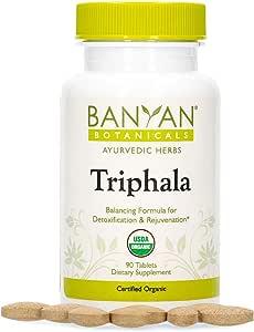 Banyan Botanicals Triphala Tablets - Organic Triphala Supplement with Amla, Haritaki & Bibhitaki – for Daily Detoxifying, Cleansing, Rejuvenating* – 90 Tablets – Non-GMO Sustainably Sourced Vegan