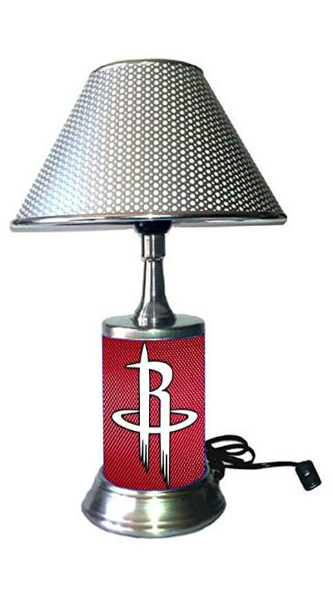 Table Lamp With Chrome Colored Shade Houston Rockets Plate Rolled In On The Lamp Base