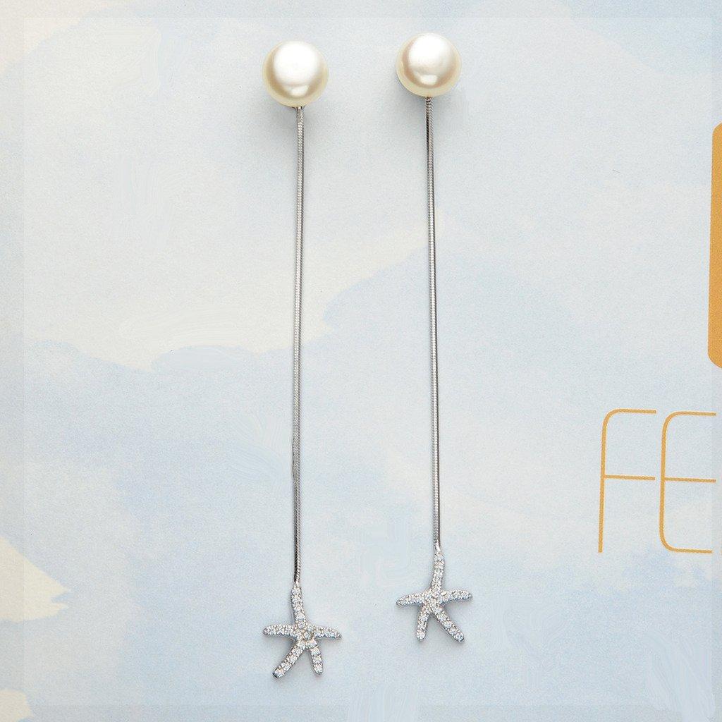 EleQueen 925 Sterling Silver CZ AAA Button Cream Freshwater Cultured Pearl Starfish Bridal Modern Ear Jacket Drop Earrings 9mm 16001444-1ca
