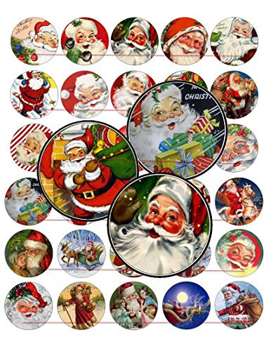 60 Precut 1  Christmas Vintage Santa Claus Bottle Cap Images A