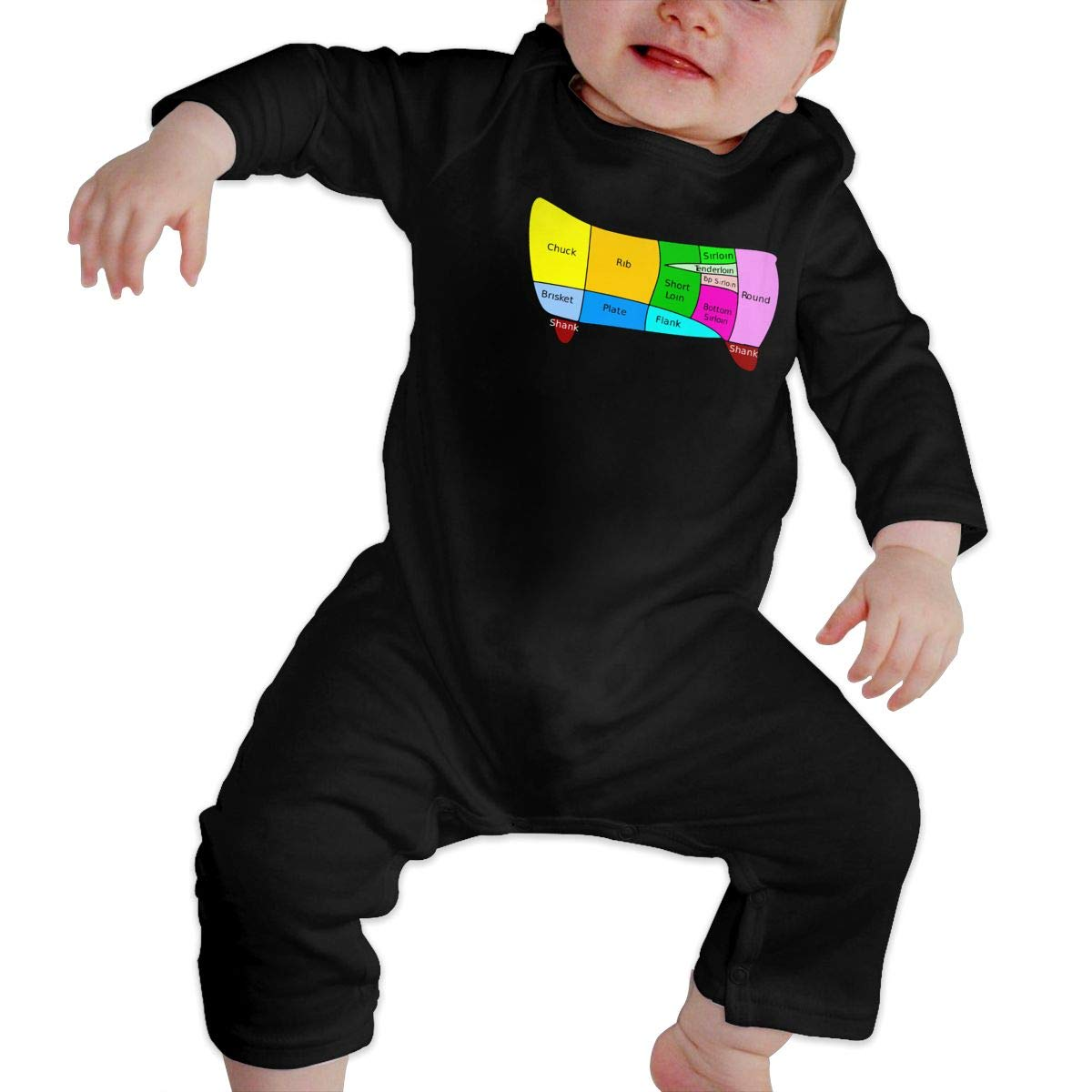 U99oi-9 Long Sleeve Cotton Rompers for Baby Boys and Girls Fashion Dutch Beef Cuts Playsuit