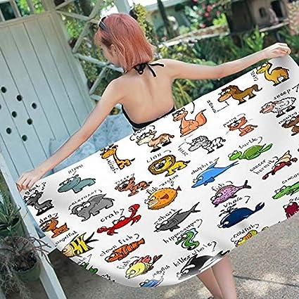 Amazon.com : WLEZY Beach Towel Printed Cartoon Microfiber ...