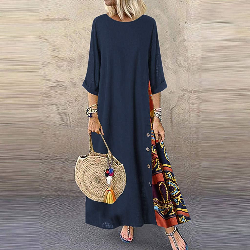 WENOVL Maxi Dresses for Women,Women Casual Patchwork 3//4 Sleeves O-Neck Button High Low Hem Plus Size Dress