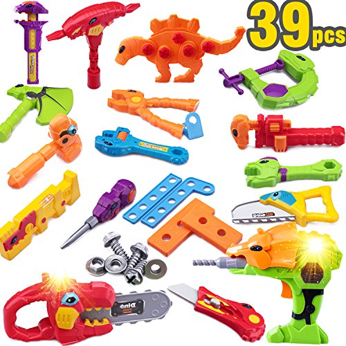 Multi Dinosaur Tools Toy w/ Sound and Light - Learning, Educational Building Pretend Play Set Gift w/ Drill, Construction Kits for 2, 3, 4, 5, 6, 7 Year Olds Boys Kids Toddlers Children- iPlay, iLearn
