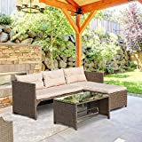 Homall 3 Pieces Outdoor Rattan Wicker Patio Furniture Sofa Set Lounge Chaise with Cushions and Pillows for Dining and Conversation