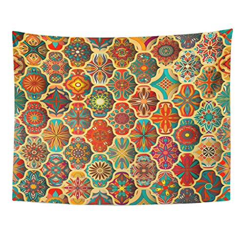 (Emvency Wall Tapestry Abstract with Mandalas Vintage Colorful Patchwork African Batik Bohemian Carpet Eastern Ethnic Floral Decor Wall Hanging Picnic Bedsheet Blanket 60x50 Inches)