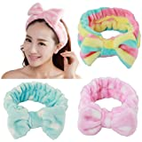Fani 3 Pieces Women/Ladies Fashion Lovely/Cute Soft Carol Fleece Bowknot Bow Makeup Cosmetic Shower Elastic Hair Band Hairlace Headband 3 Colors Available (pink, blue and rainbow color)