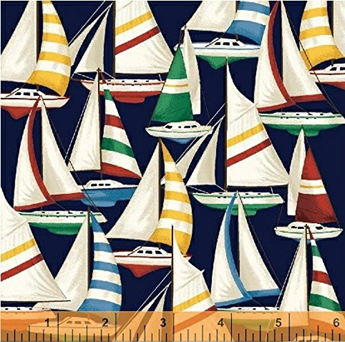 """""""Sail Away"""" Nautical Sailboats Tossed on Navy Blue Fabric 100% Cotton (Great for Quilting, Sewing, Craft Projects, Throw Pillows, Curtains, Valances & More) 1/2 Yard X 44"""""""