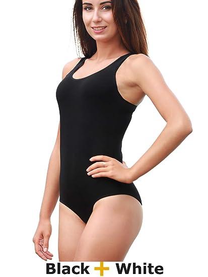 d77f6fcbc59 CNR Bodysuit Women - Women's Bodysuit Racerback Tank Top Jumpsuits, 2-Pack  (Black