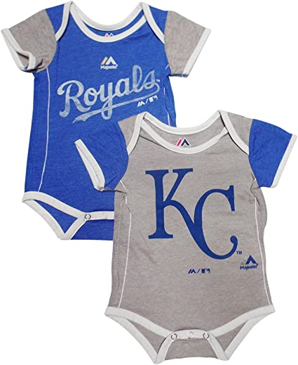 Majestic Kansas City Royals Vintage Baby//Infant Go Team 2 Piece Creeper Set