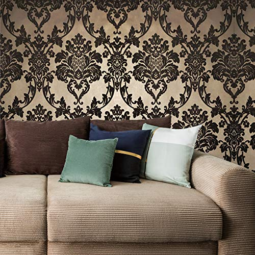 Double rolls Made in Italy Portofino Italian flocking wallcoverings modern Non-Woven flock Wallpaper brown gold metallic victorian vintage damask flocked velour velvet coverings paste the wall only 3D ()