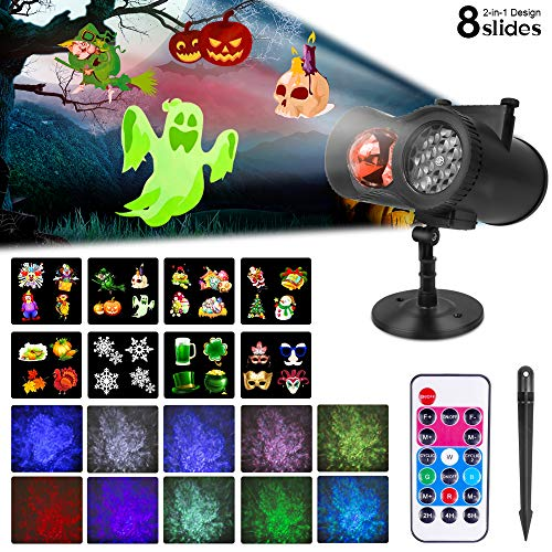 Halloween Projector Lights Outdoor Christmas Projector Light, 2-in-1 Moving Patterns with Ocean Wave LED Landscape Lights RF Remote Waterproof Outdoor Indoor Decorative Light for Yard Holiday Party