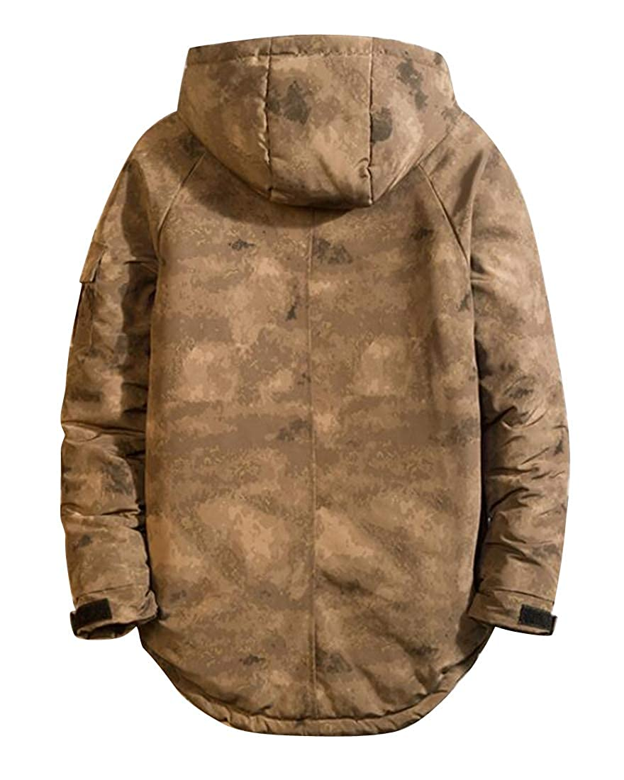 MOUTEN Mens Relaxed Fit Camouflage Thicker Winter Hooded Down Quilted Coat Jacket Overcoat