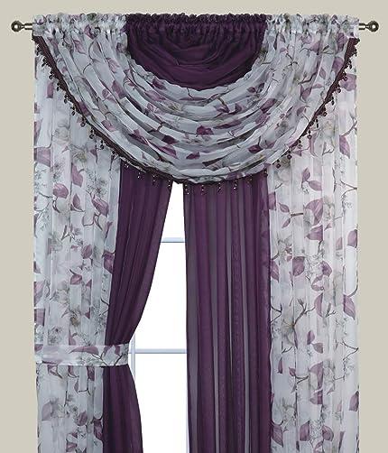 Bedding Haus Floral Sheer Complete Curtain Set Panels and Valances Pocket Rod Light Diffusing Sheer Curtain Set 84″ Long