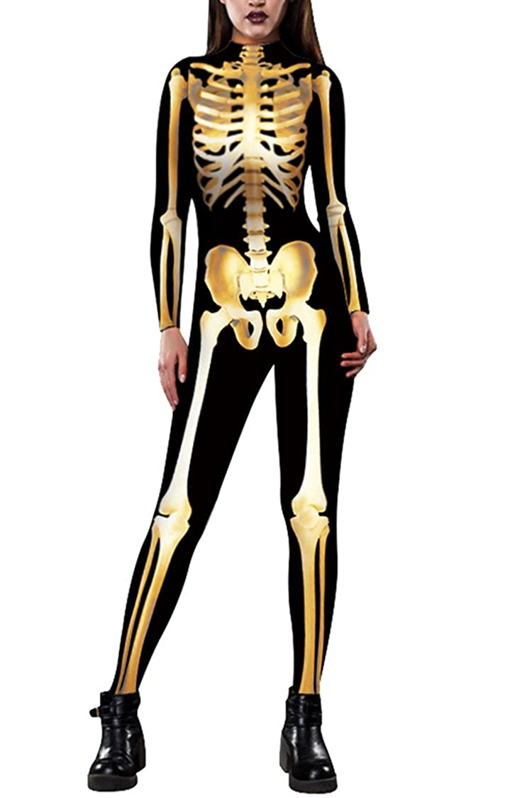 Selowin Womens Halloween Skeleton Print Costume Stretch Skinny Catsuit Jumpsuit ZSW-S1255
