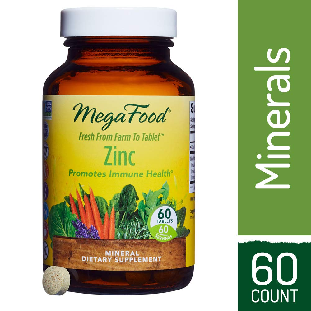 MegaFood - Zinc, Mineral Support for Healthy Tissue Repair and Wound Recovery with Spinach, Broccoli, and Parsley, Vegan, Gluten-Free, Non-GMO, 60 Tablets (FFP)