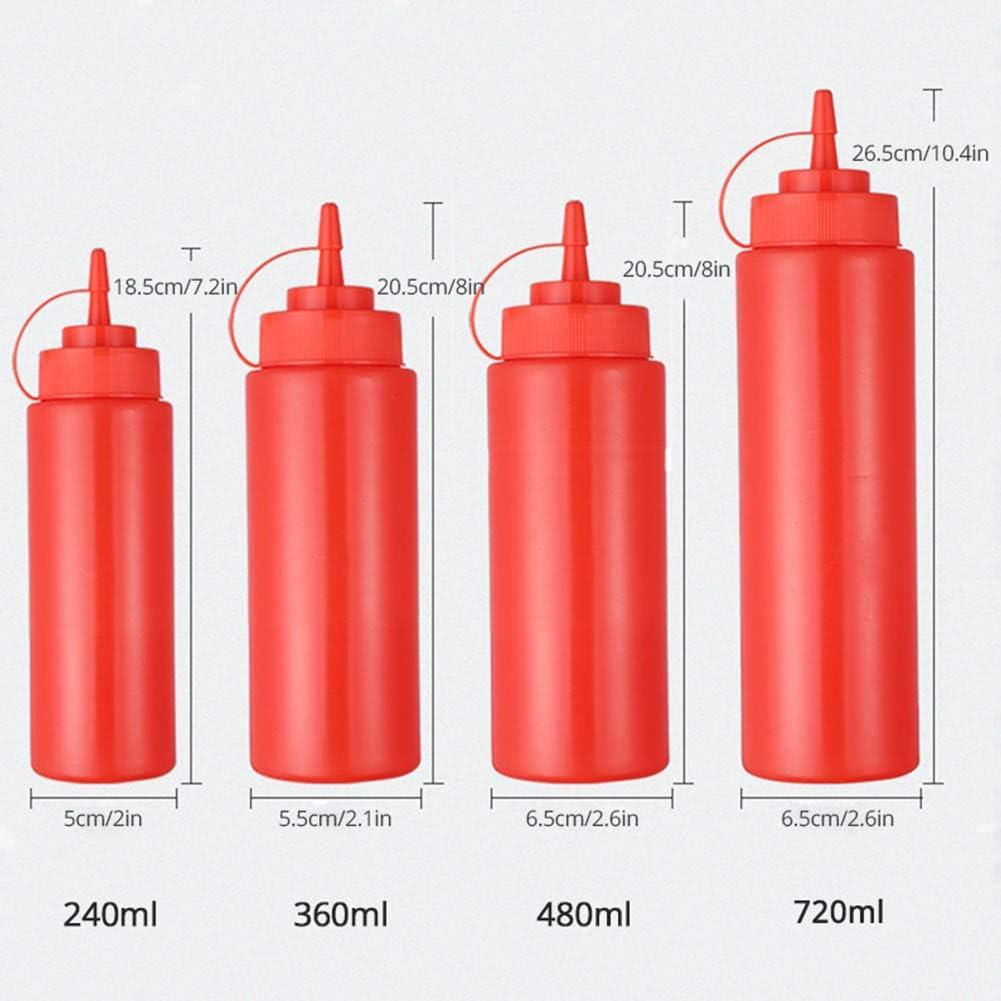 DaMohony 10pcs 460ml Biber/ón para Salsas con Tapas de Rosca Botellas para Salsa de Tomate Crema Material Seguro Amarillo