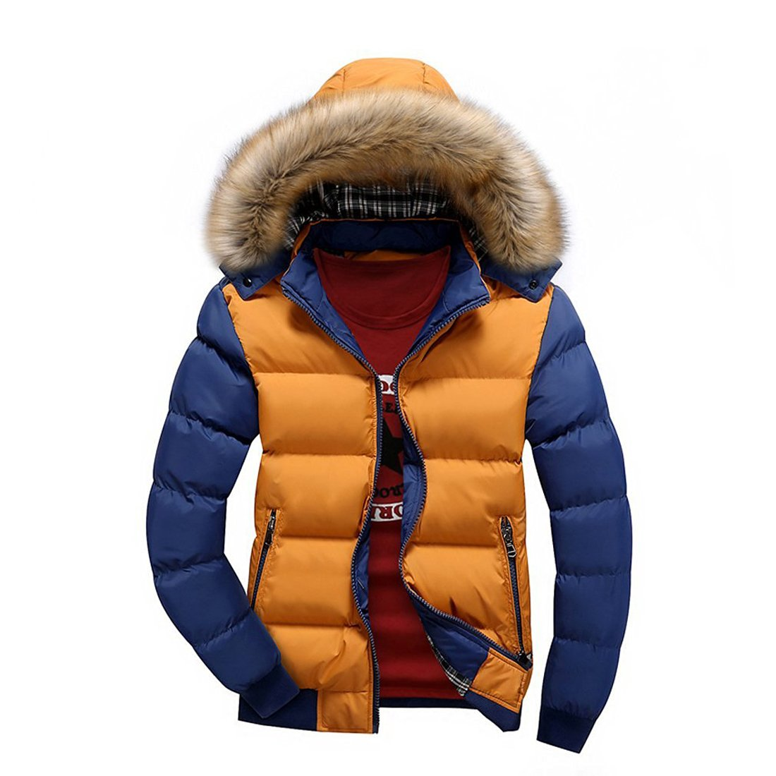Susanny Men's Winter Casual Outwear Fur Hooded Qulited Cotton Down ...
