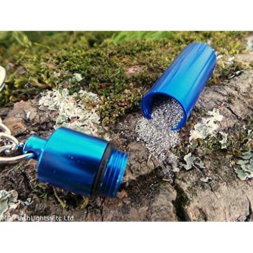 2x porte-clés EDC Boîte de rangement Bleu métallique garni de poudre de magnésium pour bushcraft survie