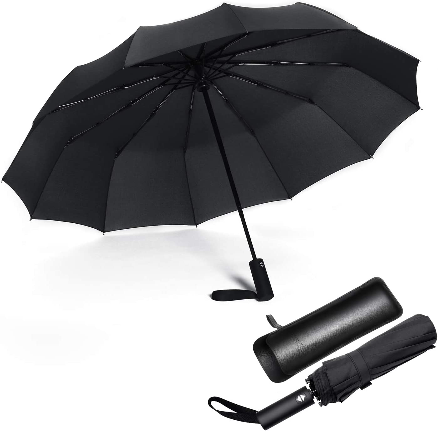 Black Large Windproof Umbrella Folds Into Portable Travel Size 54 Inch Canopy Big Enough To Fit In 2 Adults Auto Open Close and Patented Vortex System For Superior Safety And Durability