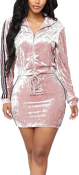 Mujer Casual Verano Chandal Chaquetas + Fashion Dos Piezas Faldas ...