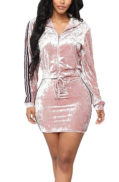 Mujer Casual Verano Chandal Chaquetas + Fashion Dos Piezas Faldas Elegante Manga Largo Rayas Empalme Ropa con Cremallera Abrigos Chaqueta: Amazon.es: Ropa y ...